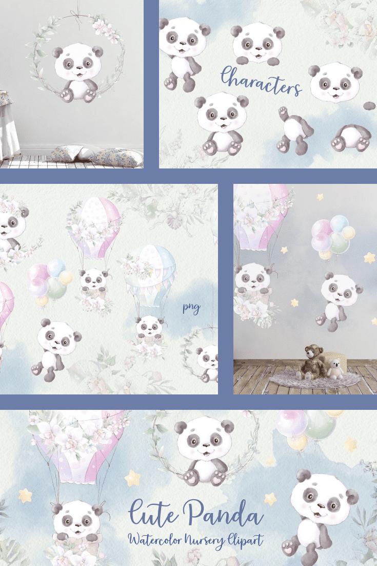 Panda Clipart: Nursery Cute Panda PNG. Collage Image.