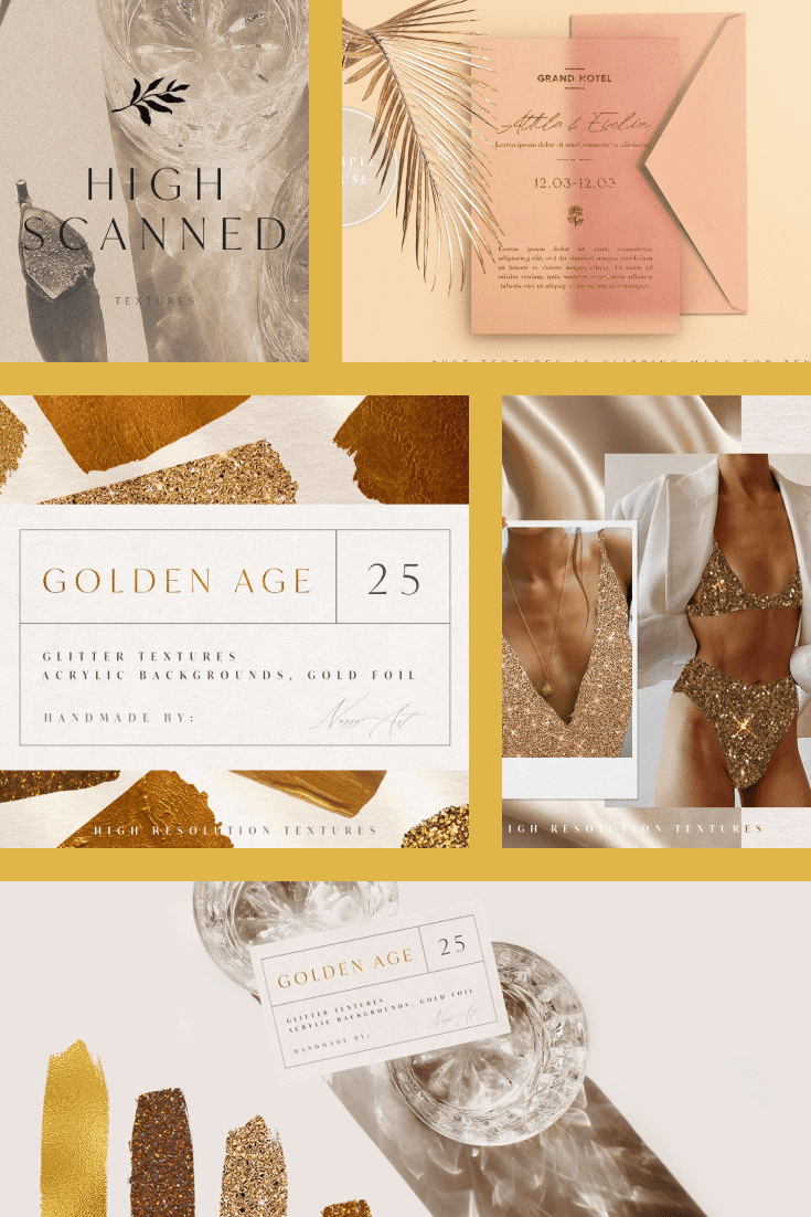 25 Luxury Textures: Gold Foil Glitter Textures. Collage Image.