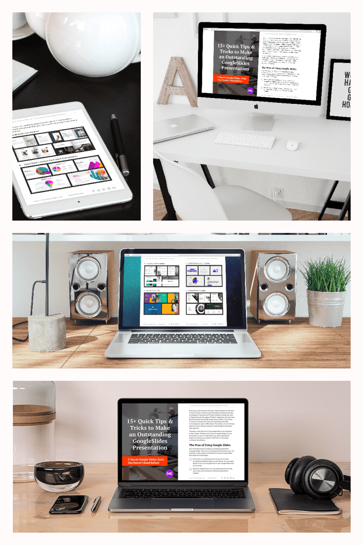 15+ Quick Tips & Tricks Create Google Slides Presentation | Free White Paper. Collage Image.