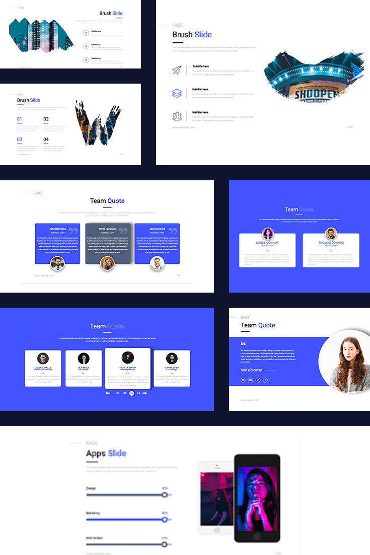 EASE Animated Presentation Template: Powerpoint & Keynote Template. Collage Image.