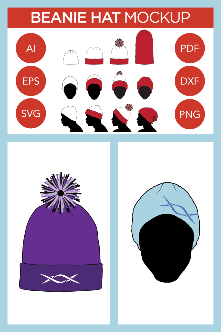 Winter Hat Vector Mockup: Beanie, Toque, Knit, Winter Hats. Collage Image.