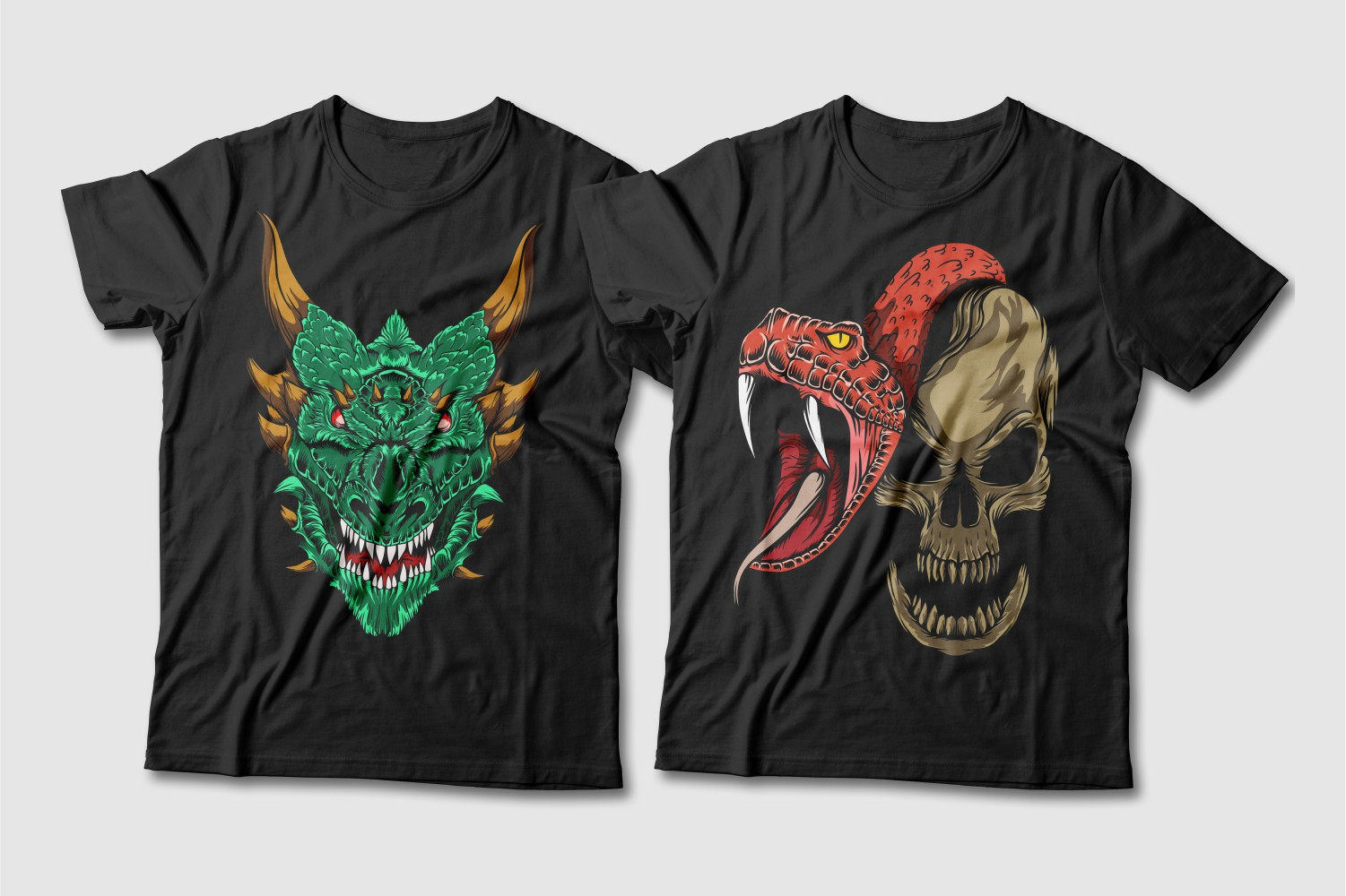 Black T-shirts with a crew neck and the image of an emerald dragon with brown horns and eyes and a red snake around the skull.
