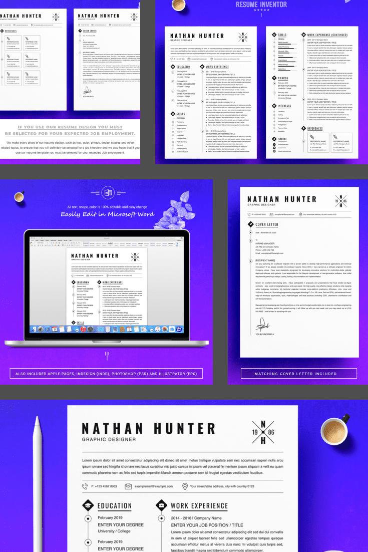 Graphic Designer Resume Template. Collage Image.