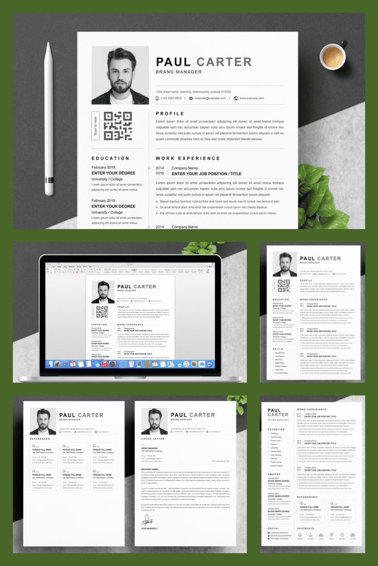 Professional Resume Template. Collage Image.