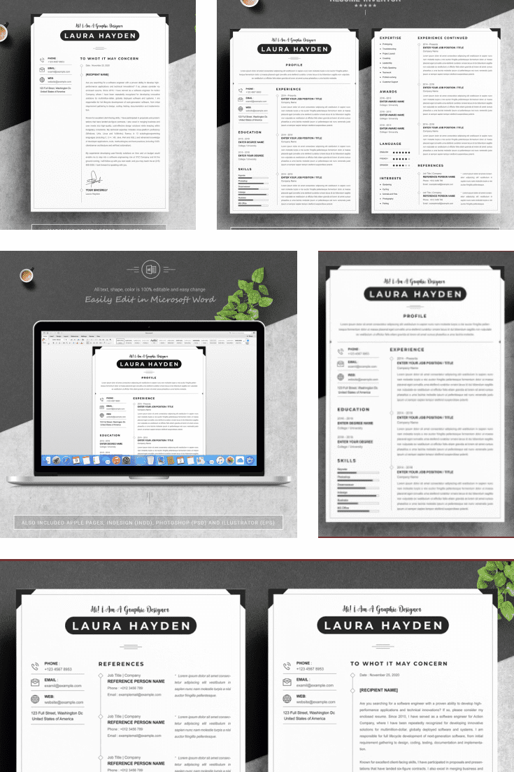 CV PSD Template + Cover Letter. Collage Image.