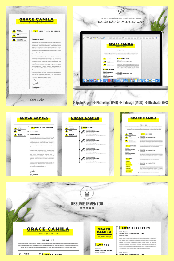 Boutique Artist Resume Templates. Collage Image.