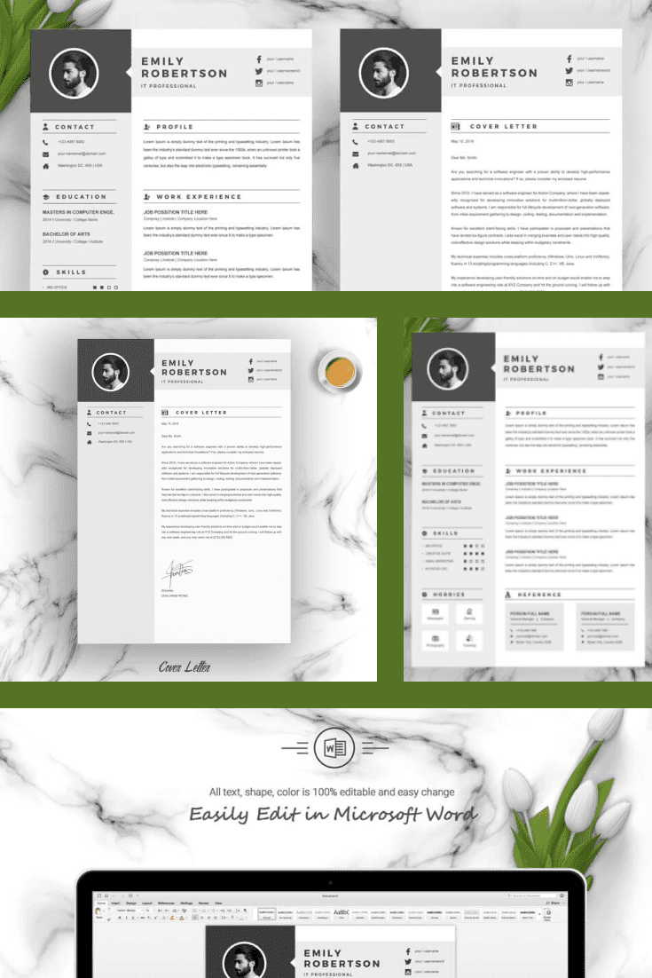 Best Executive Resume Template. Collage Image.