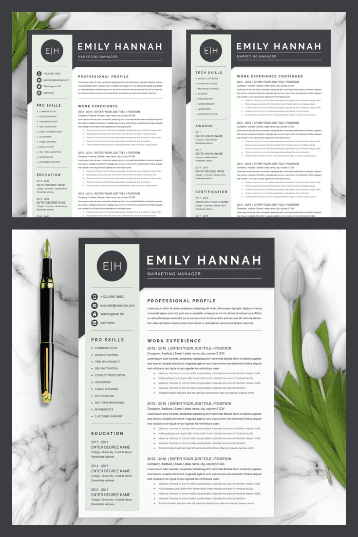 Executive Director Resume Template. Collage Image.