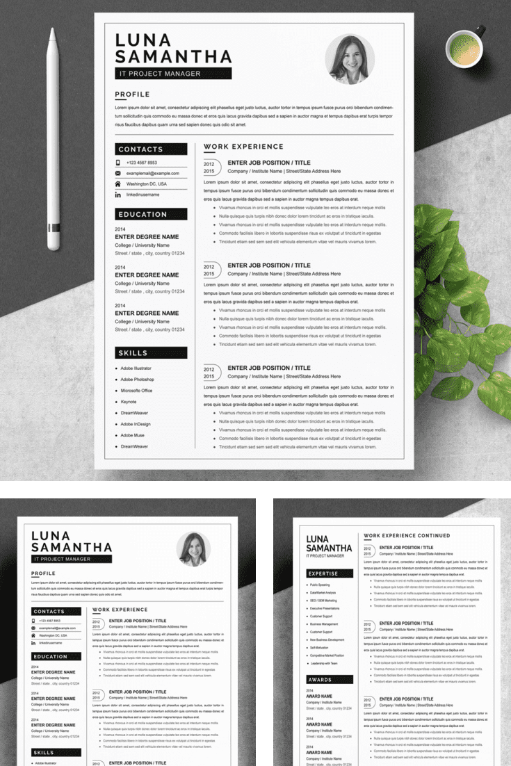 IT Project Manager Resume Template. Collage Image.