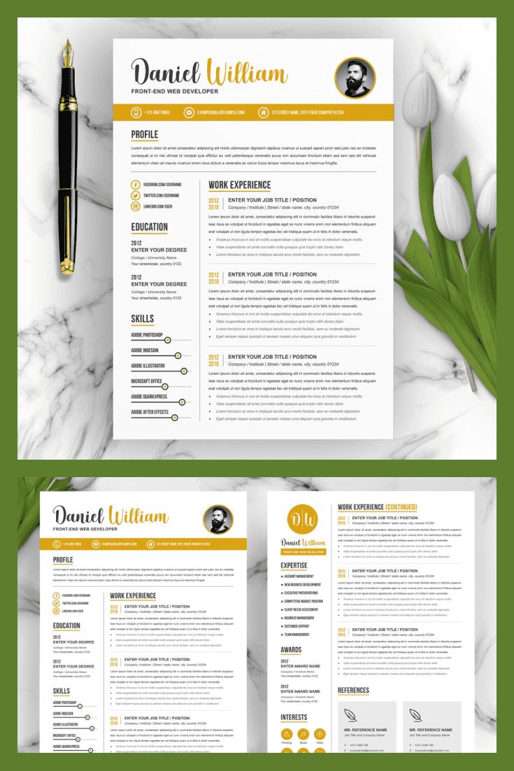 Web Developer Resume Template. Collage Image.
