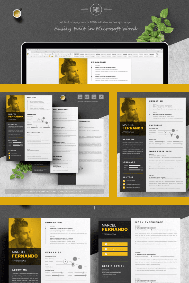Top Minimal Resume Template. Collage Image.