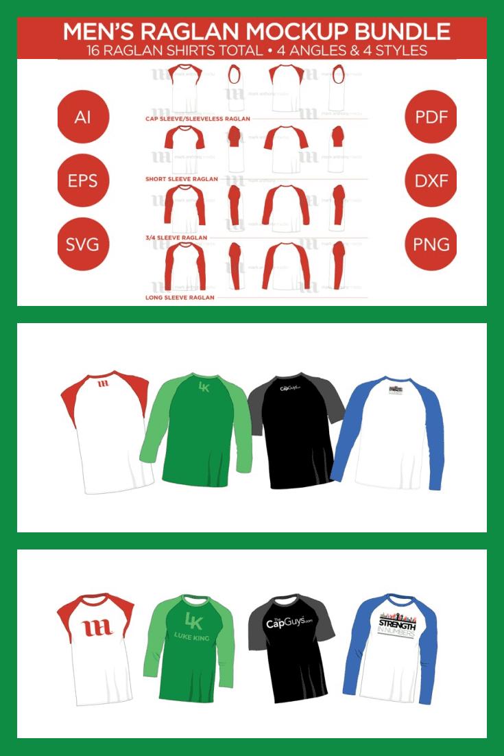 Raglan Man T-shirt Mockup Vector Template. Collage Image.