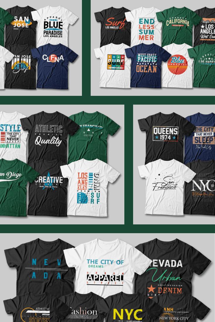 175 Urban Street Style T-shirt Designs Mega Bundle. Collage Image for Pinterest.