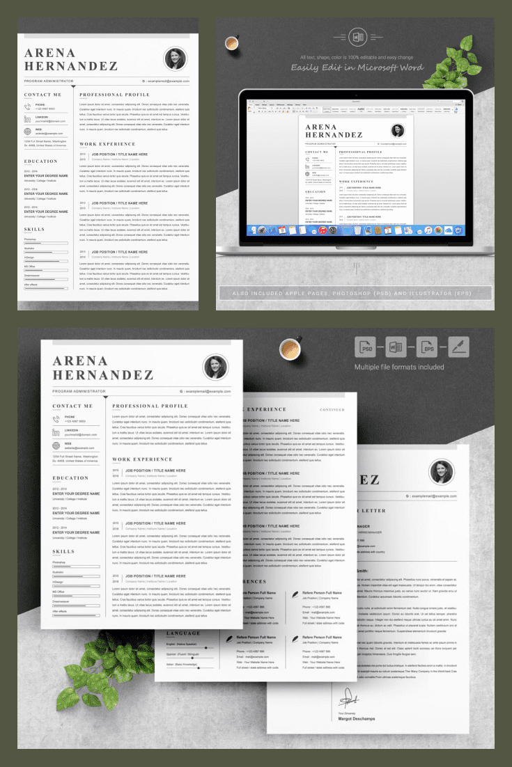 System Administrator Resume Template. Collage Image.