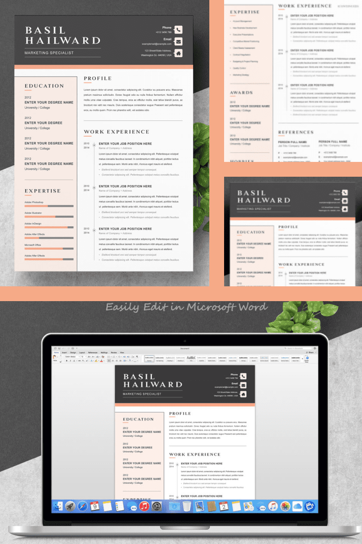 Digital Marketing Specialist Resume Template. Collage Image.