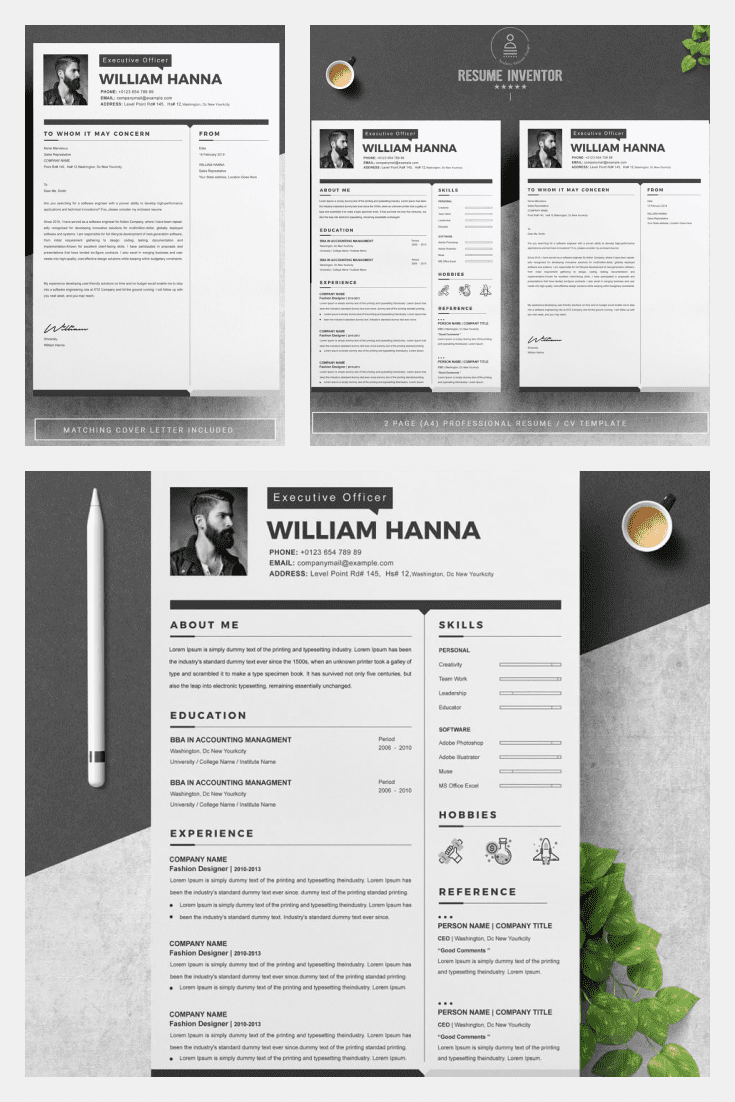 Best Resume Assistant Word Template. Collage Image.