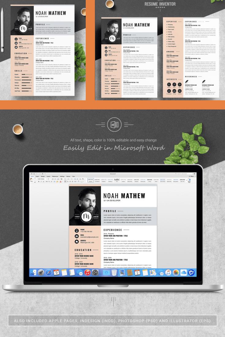 UI/UX Developer Resume Template. Collage Image.