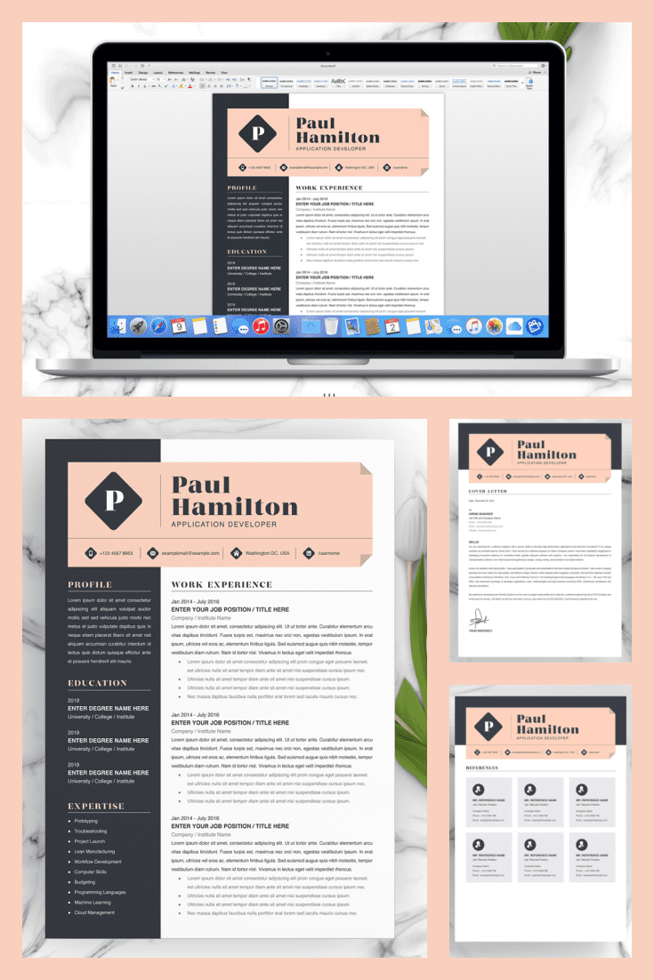 Application Developer Resume Template. Collage Image.