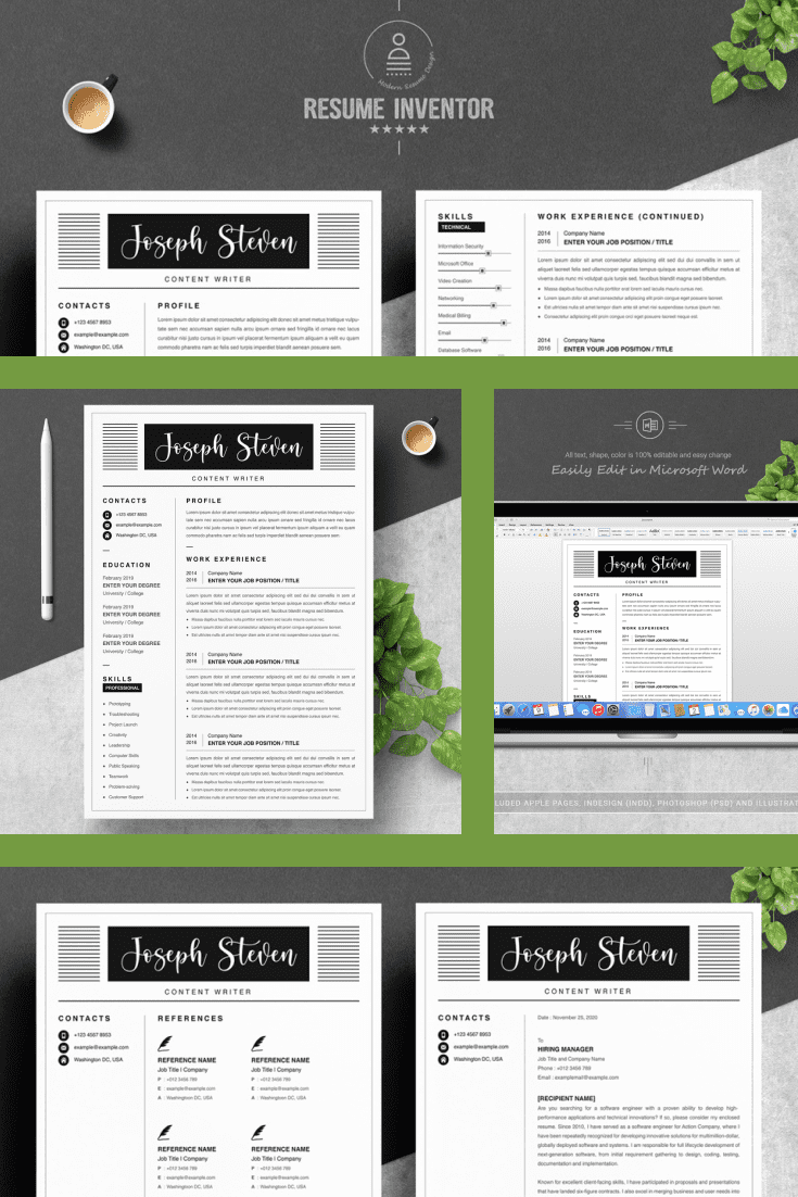 Content Writer Resume Template. Collage Image.
