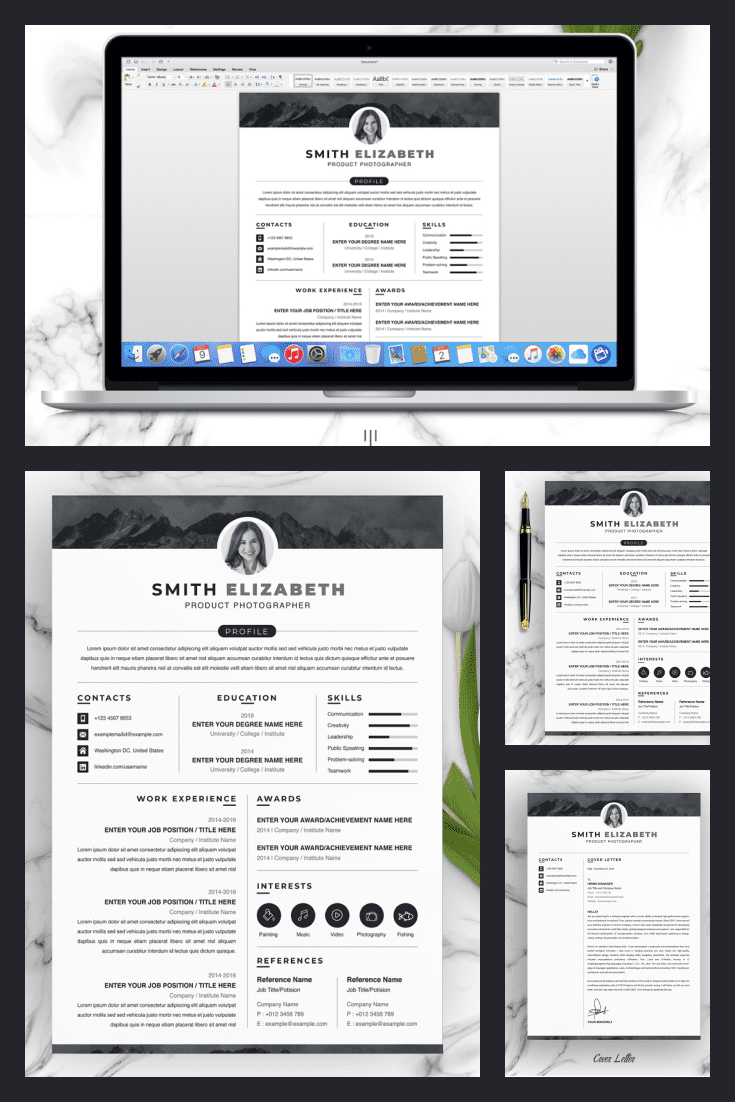 Product Photographer Resume Template. Collage Image.