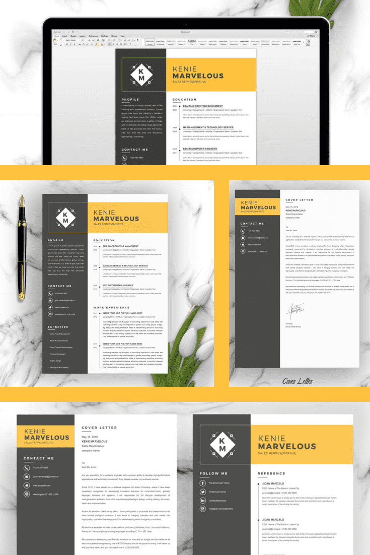 Simple Clean Resume Template. Collage Image.