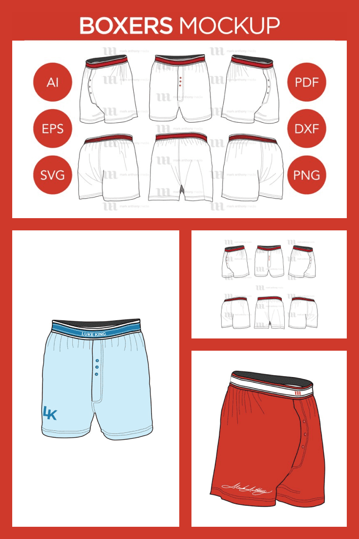 Boxers Mockup: Boxers  Vector Templates. Collage Image.