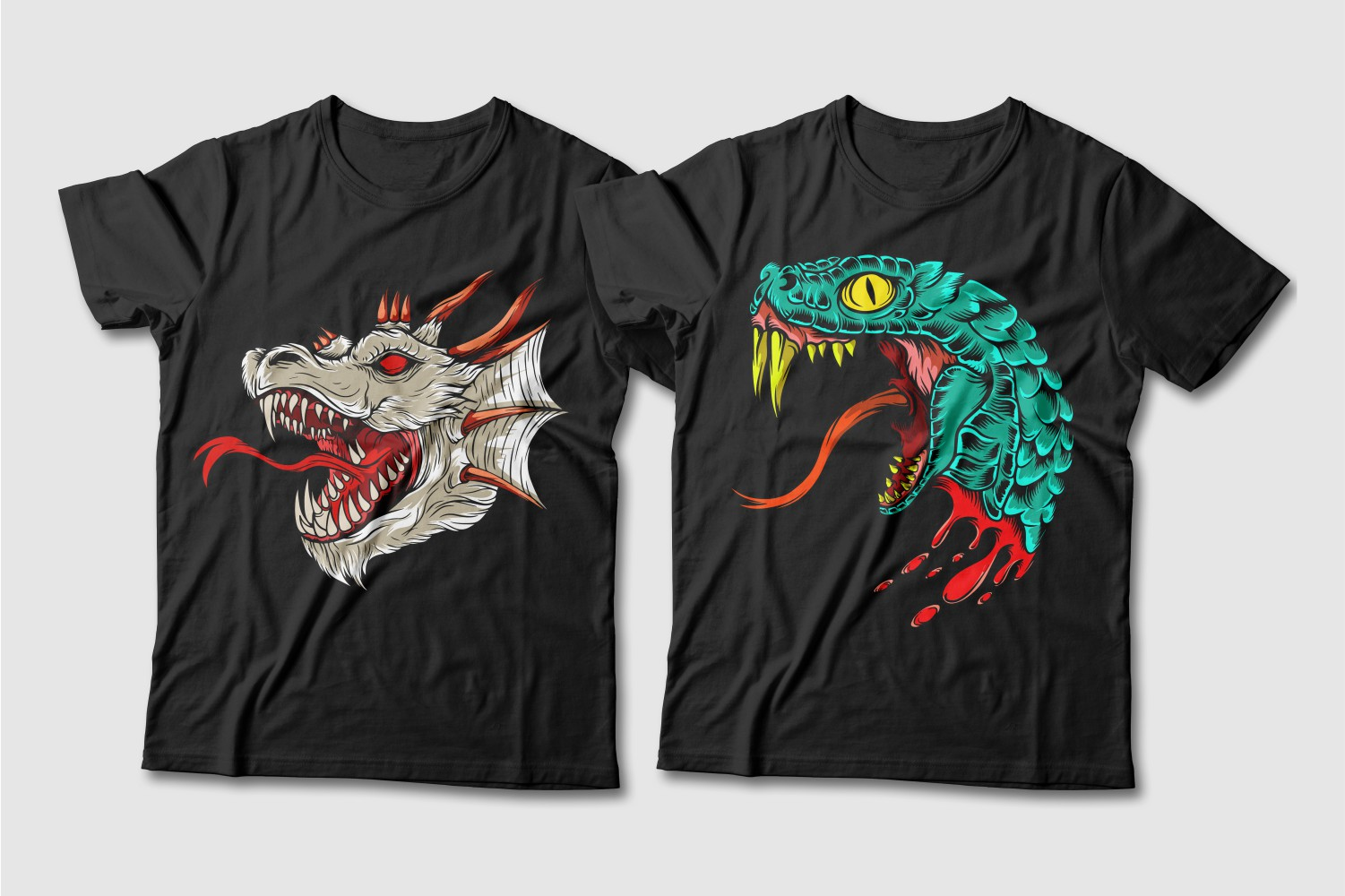 Black T-shirts with a crew neck and the image of a gray dragon with red horns and eyes and an emerald cobra with a yellow tongue.