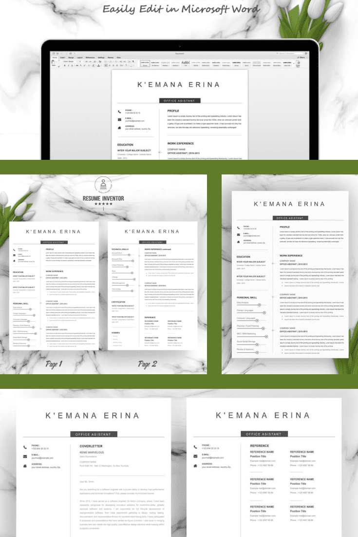 Creative Director Resume Template. Collage Image.