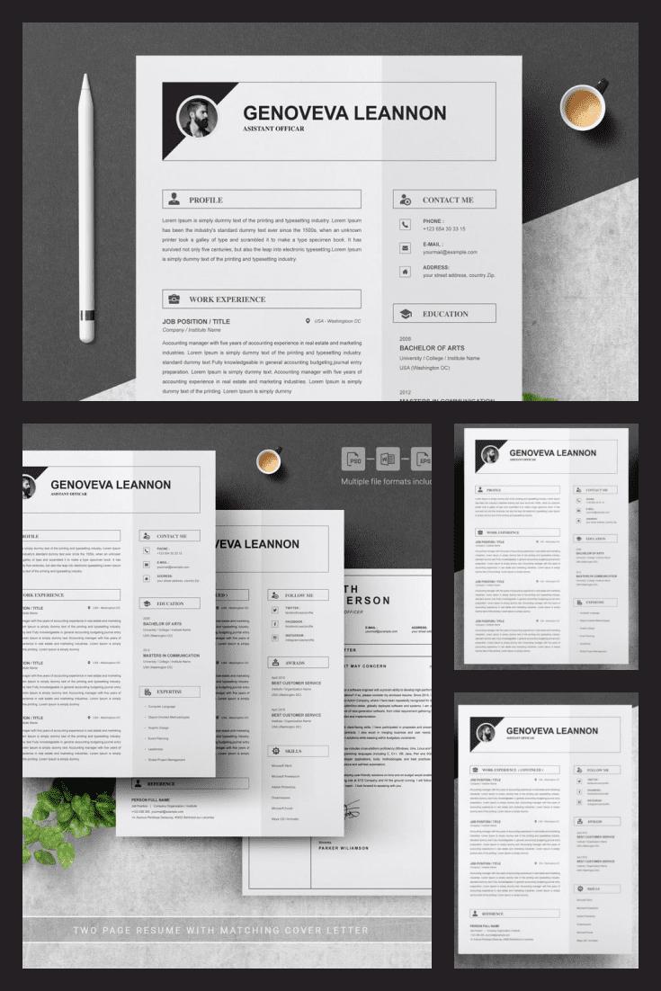 Modern Minimalist Resume Template. Collage Image.