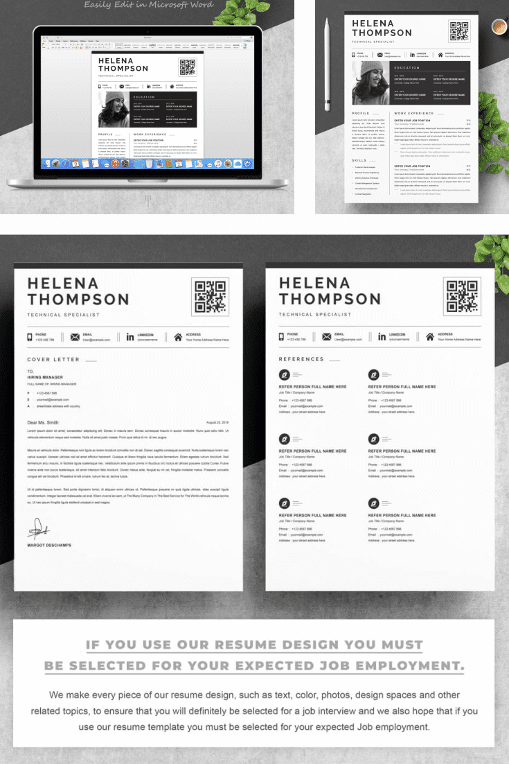 Technical Support Specialist Resume Template. Collage Image.