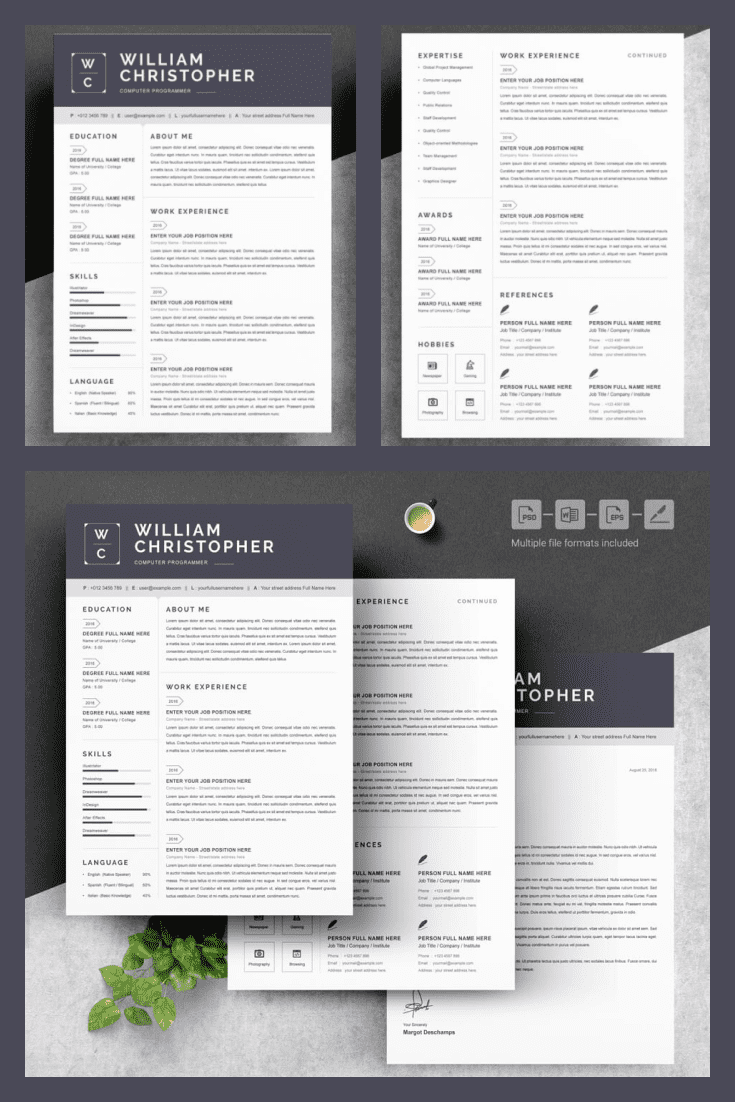 Computer Programmer Resume Template. Collage Image.
