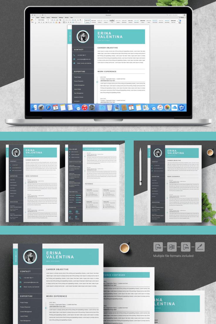 Web Designer Resume Template. Collage Image.