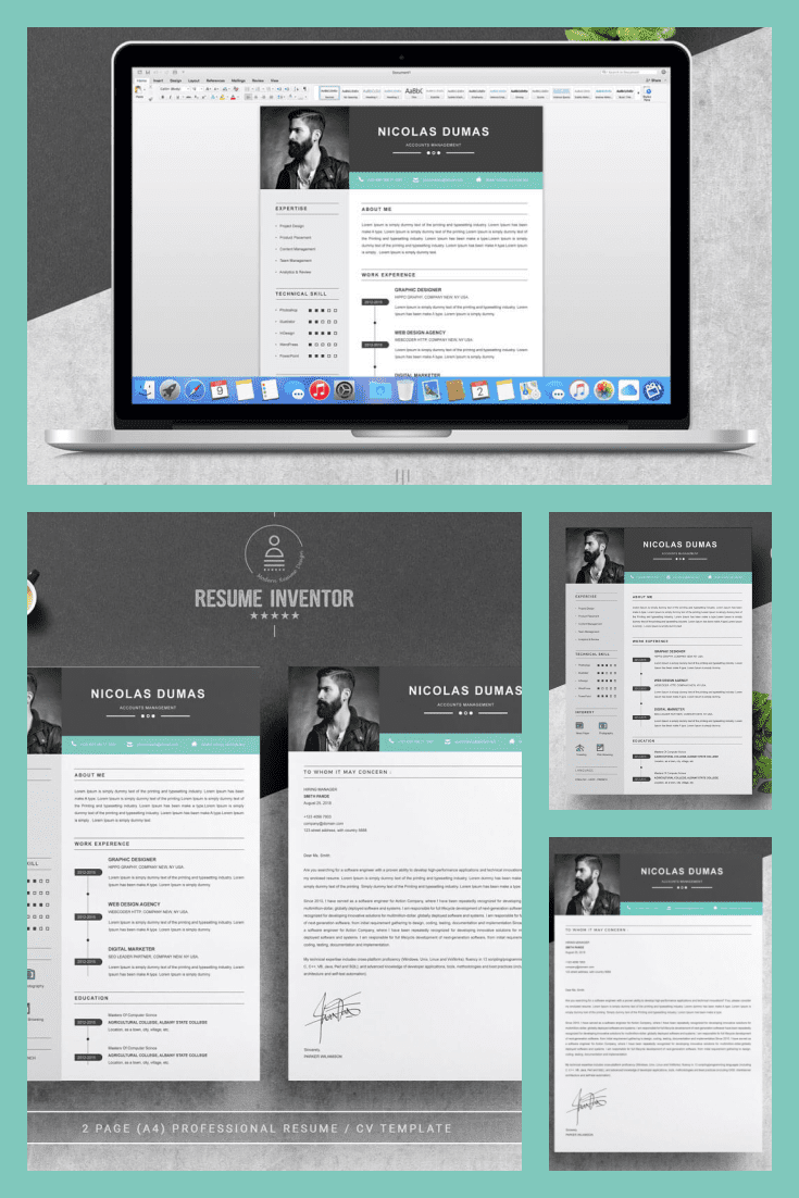 Resume Academic Cover Letter Template. Collage Image.