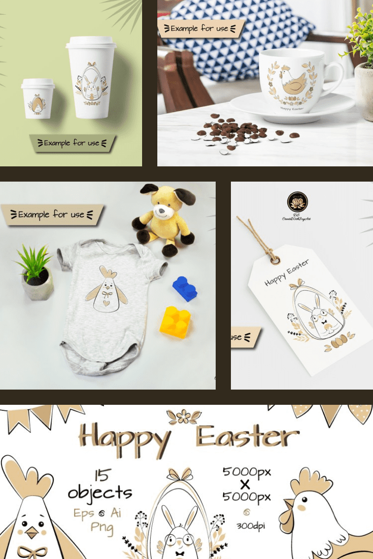 Happy Easter Religious Clipart. Collage Image.