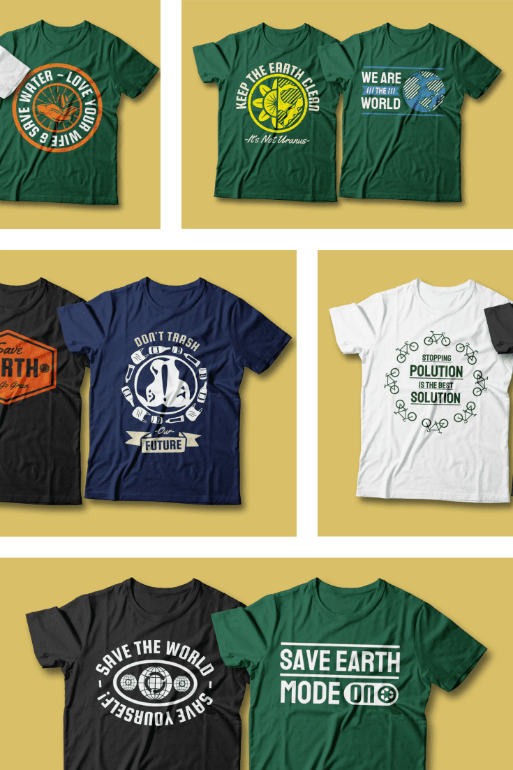 50 Earth Day T-shirt Designs Bundle. Collage Image.