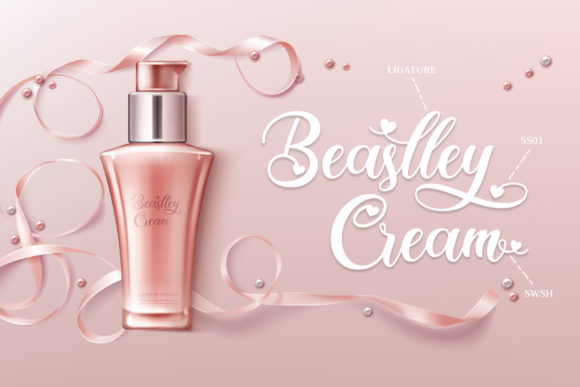 Advertising poster of the cream. Based on a powdery background with a beautiful lettering.