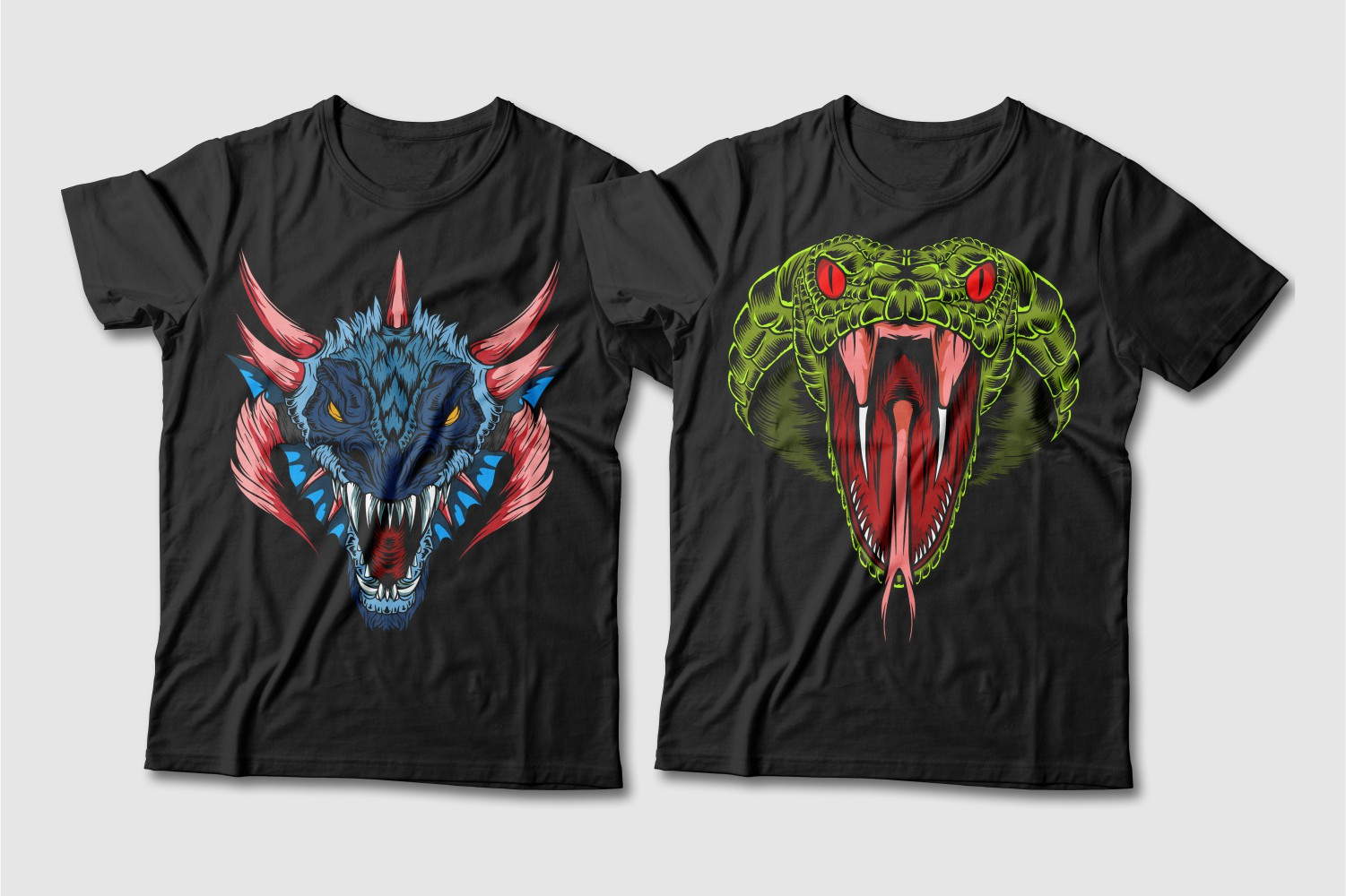 Black T-shirts with a crew neck and a blue dragon with red horns and a light green cobra with red eyes.
