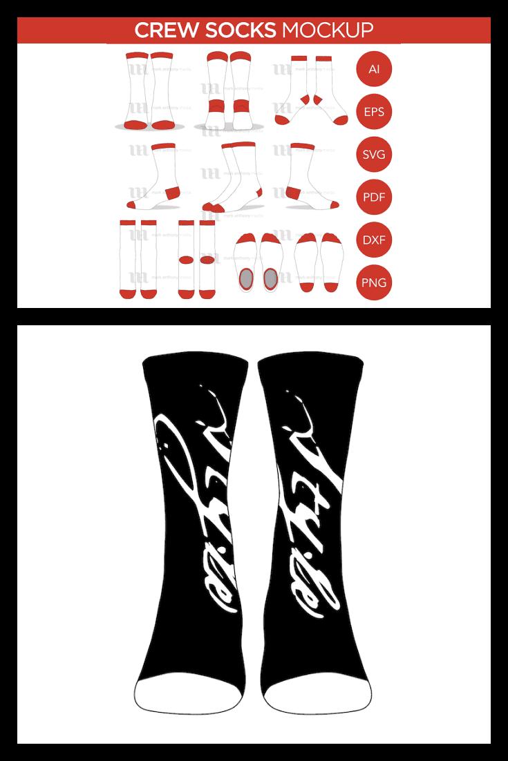 Crew Socks Mockup Template. Collage Image.