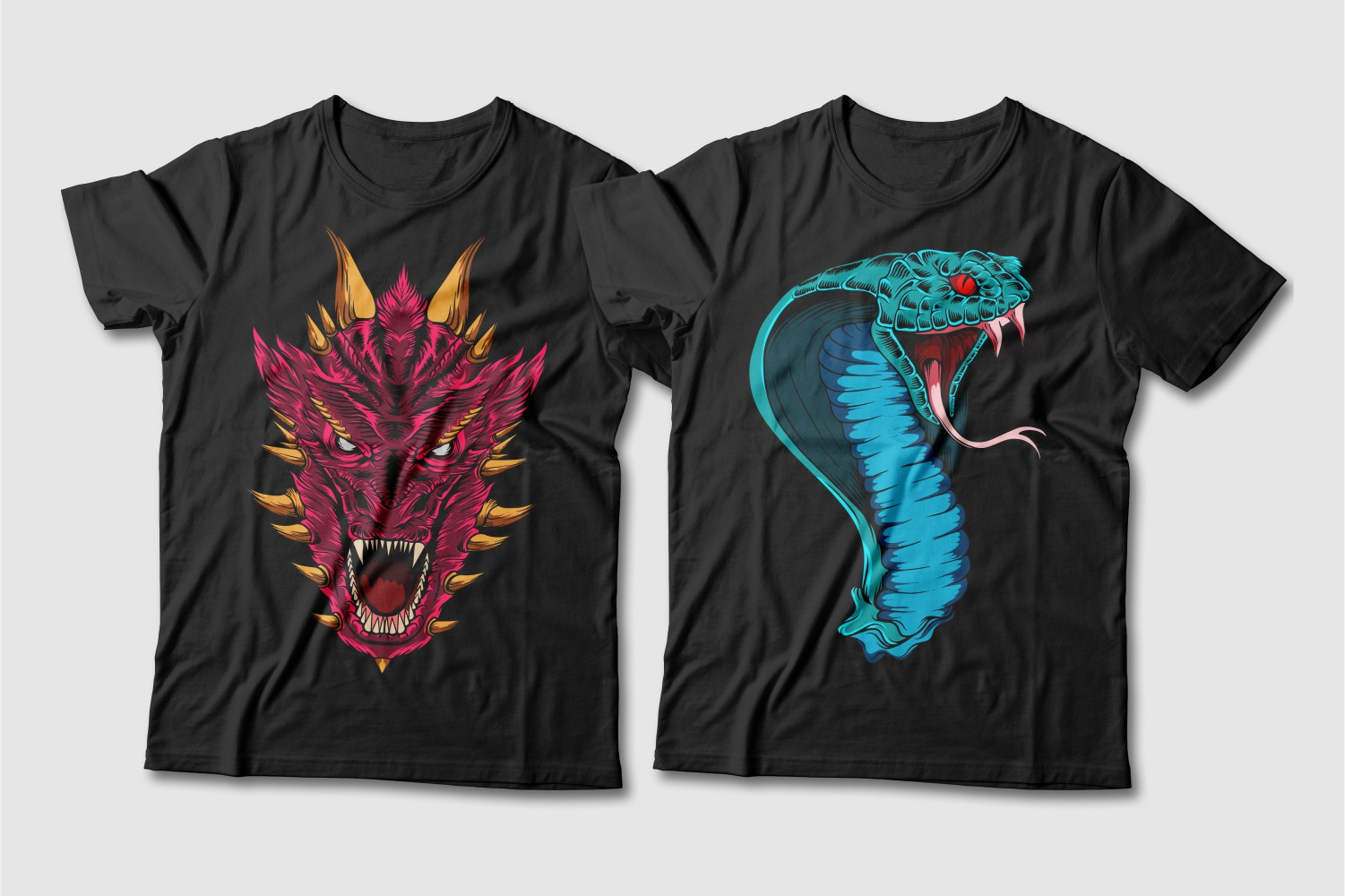Black T-shirts with a crew neck featuring a red dragon with brown horns and a turquoise cobra with red eyes.