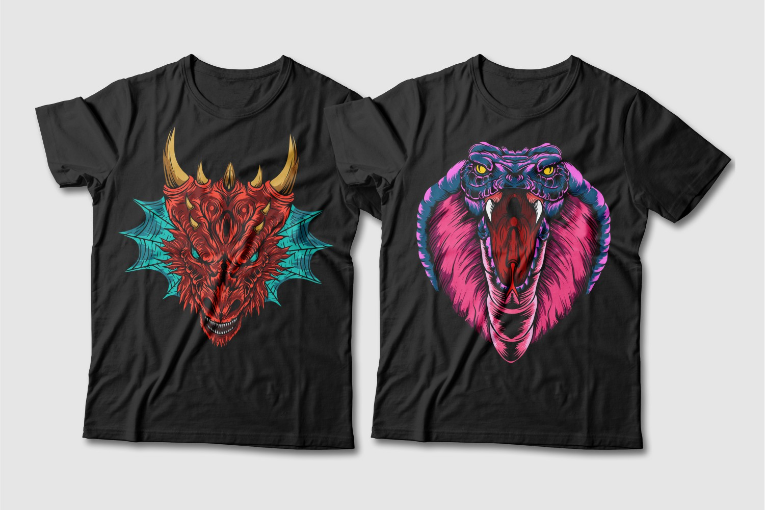 Black T-shirts with a crew neck featuring a red dragon with a turquoise tuft and a crimson cobra with yellow eyes.