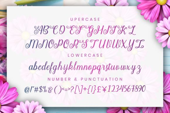 A bright background with flowers, which shows the font from all angles.