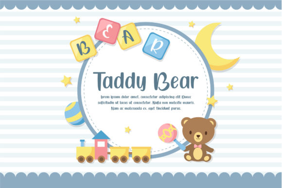 White background with blue stripes with a teddy bear, a train and attributes for a sweet baby sleep.
