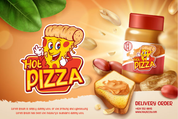 Advertising poster for pizza, where the words are spelled with a twinkle.