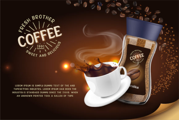 Promotional poster for coffee with a slightly golden font.