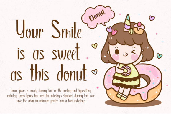 A little girl is sitting on donuts and next to her is a rhyme.