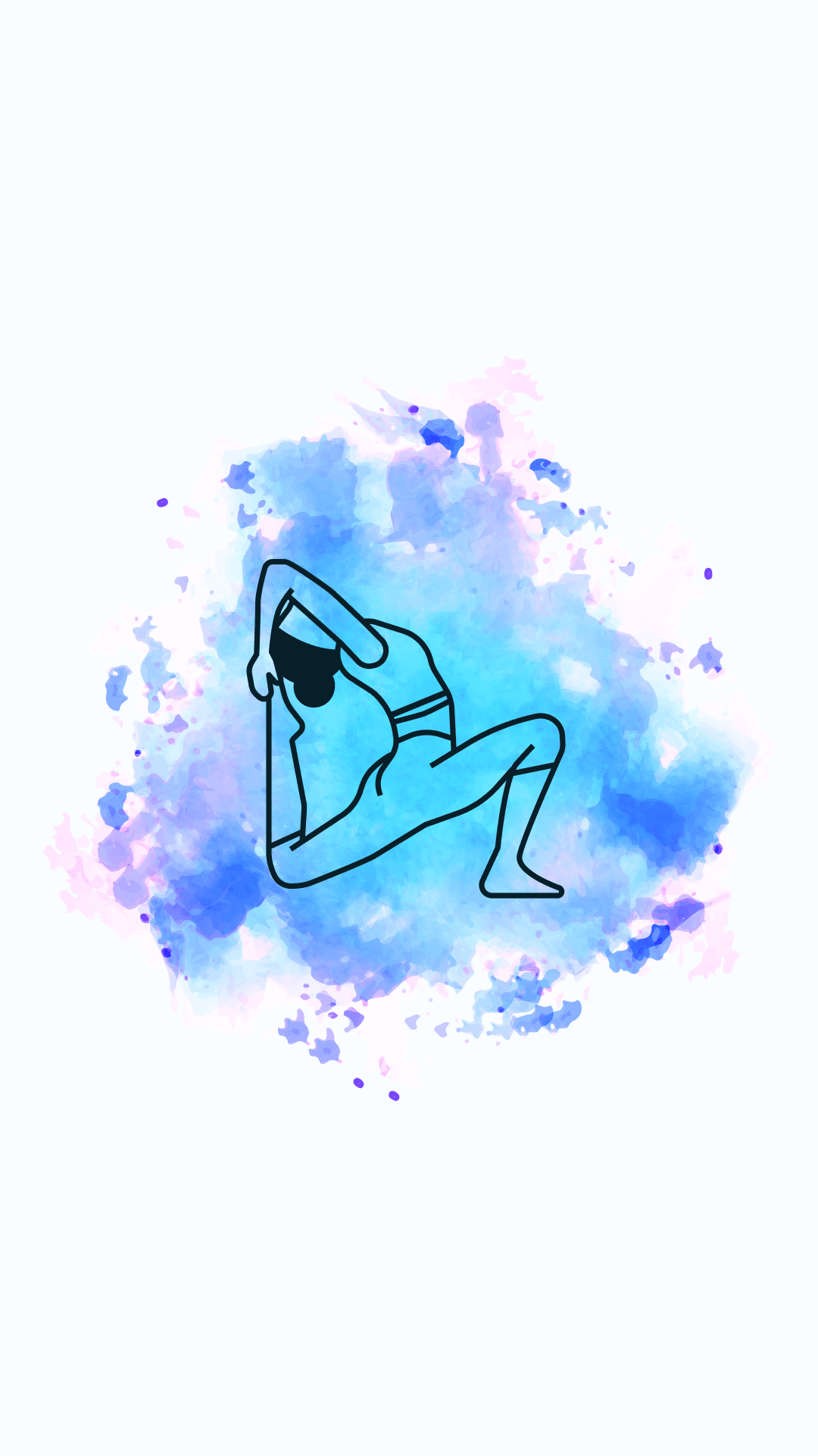 Blue with shades of pink and purple watercolor background with a girl in an asana.