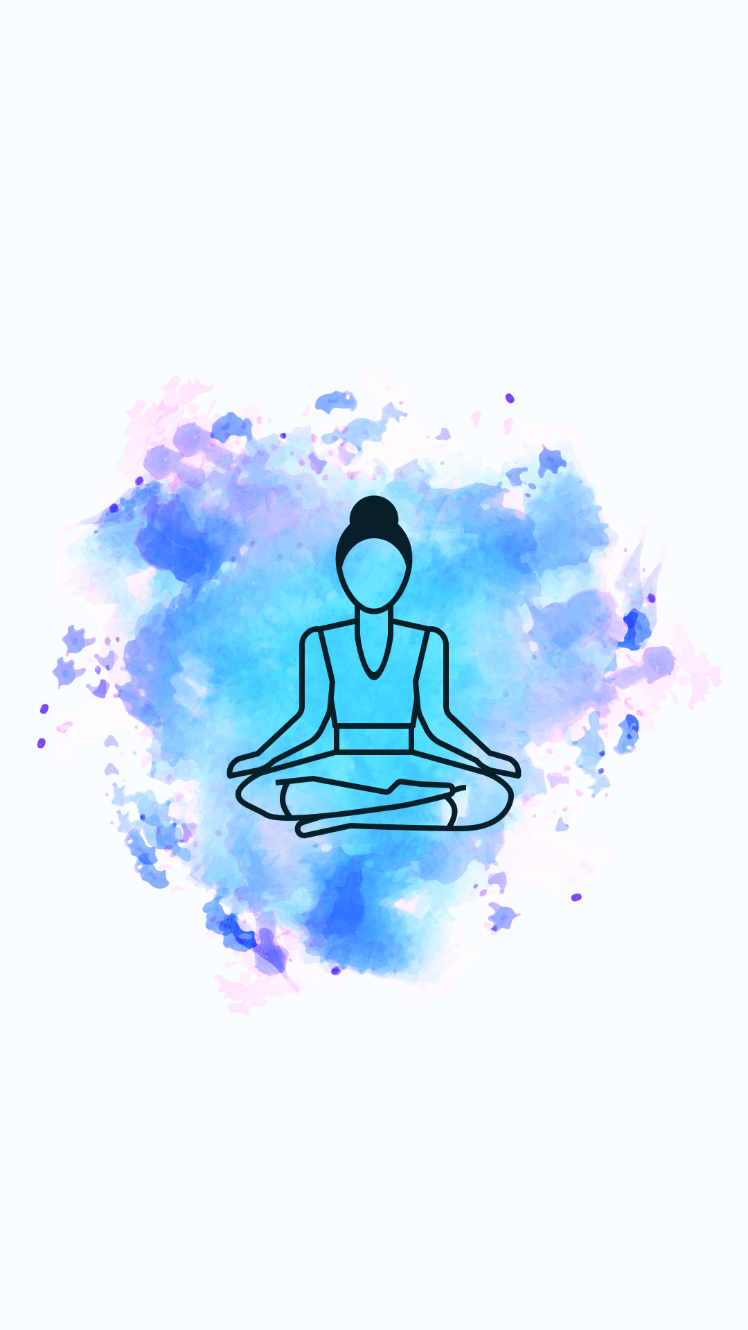 Such a sawn blue-pink background with a girl in the lotus position.