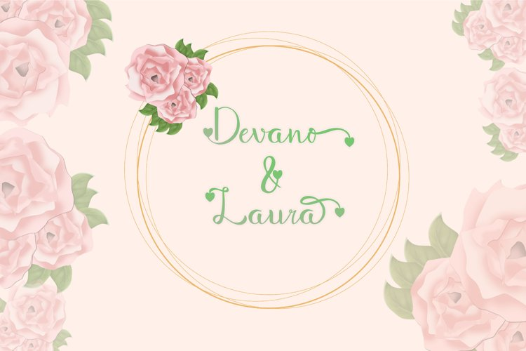 Delicate pink roses and green font.