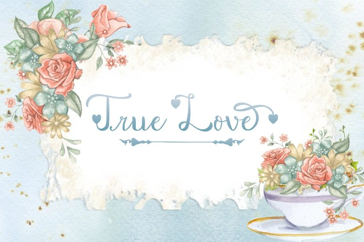 The watercolor background and heart font create an incredibly romantic atmosphere.