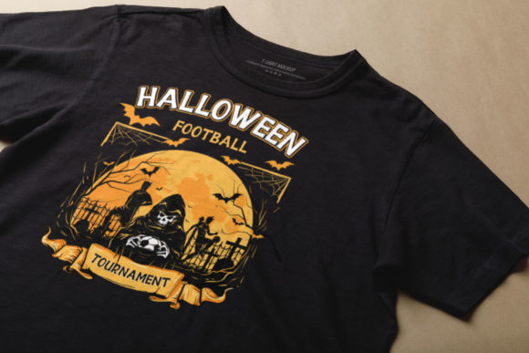 Black T-shirt with a picture of a cemetery and a ghost.
